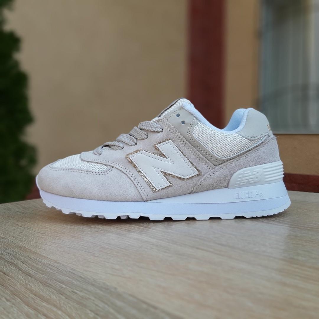 Жіночі замшеві кросівки New Balance 574 (бежеві) 20029
