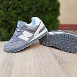 Женские замшевые кроссовки New Balance 574 РЕФЛЕКТИВ (серые) 20027, фото 5