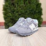 Женские замшевые кроссовки New Balance 574 РЕФЛЕКТИВ (серые) 20027, фото 6