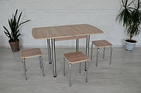 Обеденный комплект Тавол Овале ножки хром металл (Стол раскладной + 3 табурета) Ясень, фото 1