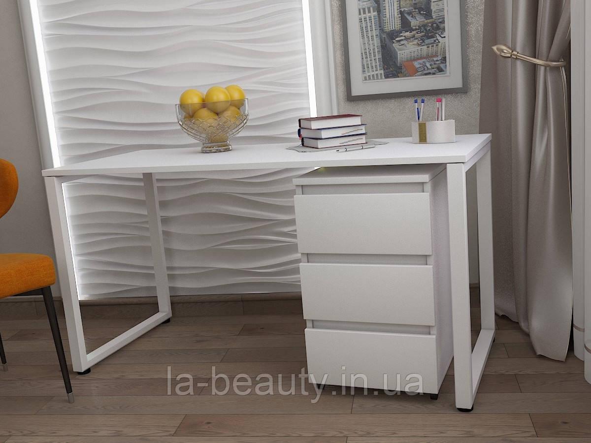 Стол Тавол КС 8.1 с мобильной тумбой металл опоры белые 140смх60смх75см ДСП 16 мм Белый