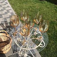 Золотые бокалы для вина, набор бокалов 6шт, подарок маме ,жене. Подарк к Дню Рождения. Подарок к 8 марту. 2шт