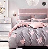 Комплект постельного белья размер ДВУСПАЛЬНЫЙ материал - бязь серое с розовым сердца