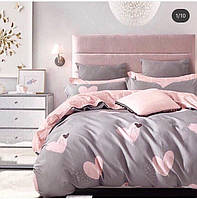 Комплект постельного белья размер ПОЛУТОРНЫЙ материал - бязь серое с розовым сердечки