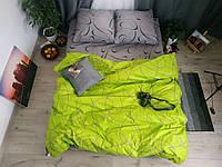 Комплект постельного белья размер ЕВРО материал - бязь серый с салатовым петли