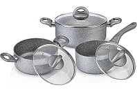 Набор кухонной посуды Fissman MOON STONE 2 кастрюли и ковшик с крышками psgFN-AL-4401, КОД: 1478327