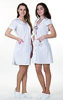 """Медицинский халат женский """"Диана"""" коттон с коротким рукавом белый, фото 1"""