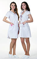"Медицинский халат женский ""Диана"" х/б с коротким рукавом белый, фото 1"
