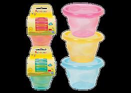 Контейнеры для детского питания и молока 3 шт ТМ Курносики Голубой с зеленым 7050, КОД: 1457818