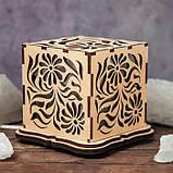 """Соляной светильник деревянный куб """"Цветы"""", фото 2"""