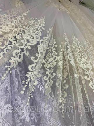 Фатиновая тюль с нежными полями 2104 кремового цвета, фото 2