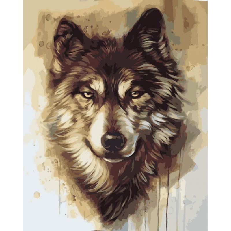 """Картина по номерам. Волк """"Вожак стаи"""" 40*50см (Бесплатная доставка Justin)"""