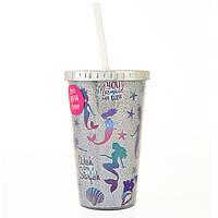 Тамблер-стакан YES Mermaid 480 мл фольга с трубочкой 707009, КОД: 1563738