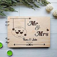 Альбом свадебный ручной работы для пожеланий с гравировкой 7Arts WE-0018, КОД: 1474300