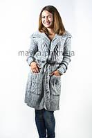 Кардиган - пальто с пояском светло-серый  р.48-50