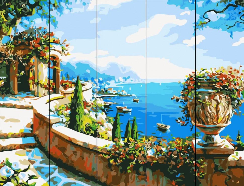 "Картина по номерам на дереве. Rainbow Art ""Ротонда у моря"" RA413-RA"
