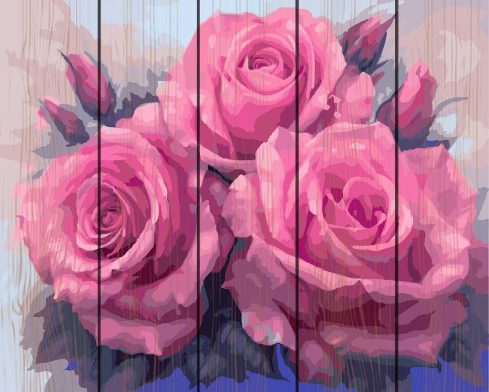 """Картина по номерам на дереве. Rainbow Art """"Три пышные розы"""" GXT7903-RA"""