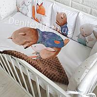 Детский комплект постельного белья с защитными бортиками фотопринт в кроватку