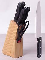 Набор кухонных ножей Kamille Iserlohn 6 ножей на деревянной подставке psgKM-5122, КОД: 1567626