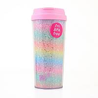 Тамблер-стакан YES Rainbow 480 мл глиттер 707007, КОД: 1563739