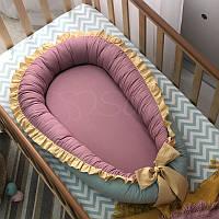Кокон для новорожденных Маленькая Соня Универсальный 65*90 см поплин детский мята/брусника/горчичный рюш