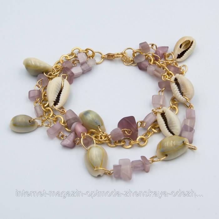 Оригинальный женский браслет с ракушками, цвет - золото