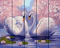 """Картина по номерам на дереве. Rainbow Art """"Пара лебедей"""" GXT9009-RA"""