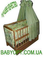 Акция!!! Лучшая кроватка маятник Малыш светлая+ матрас кокос + постельный набор 8 эл. Отличное качество.