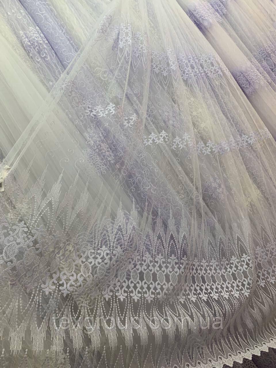 Турецкая фатиновая тюль с вышивкой 1114