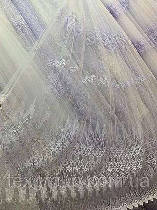 Турецкая фатиновая тюль с вышивкой 1114, фото 2