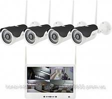 "Комплект видеонаблюдения беспроводной DVR KIT Full HD UKC CAD-1304 LCD 13.3"" WiFi 4ch набор на 4 камеры"