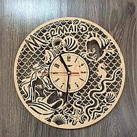 Детские часы на стену из дерева 7Arts Русалочка CL-0165, КОД: 1474343