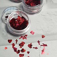 Декор для ногтей nailApex Лазерные сердечки Красные 1305, КОД: 1372082