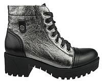 Женские ботинки Lioneli 38 Черный с серебристым lo1302-33 38, КОД: 1537121