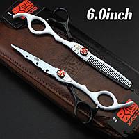 Парикмахерские ножницы kasho винт на защёлке 2 шт. в пенале размер 6/0  цвет белый с чёрным