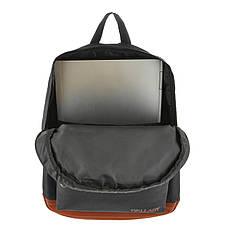 Рюкзак Wallaby міської чорно-коричневий 29х38х15 поліестр на ПВХ основі 1351ч кор, фото 3