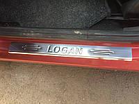 Dacia Logan II 2008-2013 гг. Накладки на пороги Carmos (4 шт, нерж.)