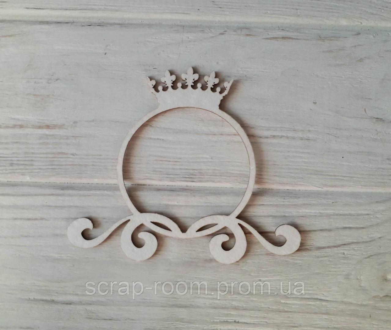 Чипборд рамка круглая с короной, чипбод рамка,рамочка принцесса,рамка, рамка чипборд 105*91 мм