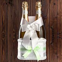 Корзинка для бутылок шампанского на 2 бутылки, мятный цвет (арт. BFB-20)