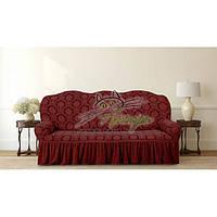 Жакардовий чохол на тримісний диван з оборкою Karahanli бордо