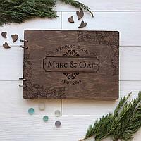 Свадебный альбом из дерева 7Arts для фотографий и пожеланий Орех WE-0010, КОД: 1474388
