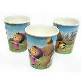 """Стакани паперові """"Маша і Ведмідь"""", 10 шт, Набор стаканчиков """"Маша и Медведь"""""""