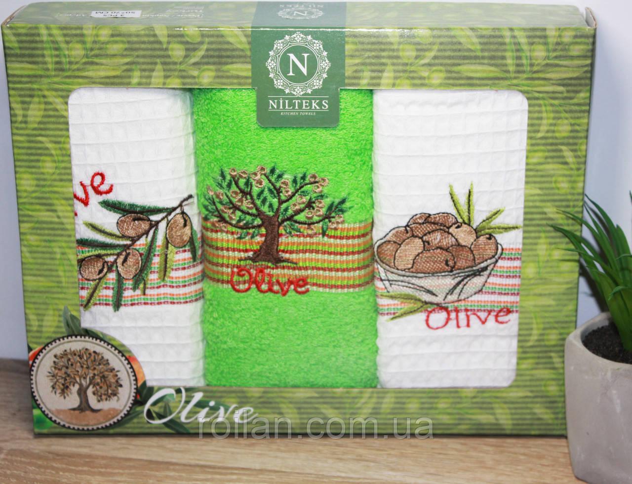 Набор турецких кухонных полотенец NILTEKS Оливка