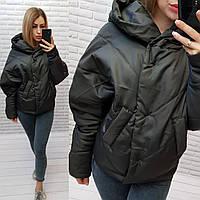 Куртка короткая оверсайз матовая с капюшоном, арт. 187, чёрный / чёрного цвета