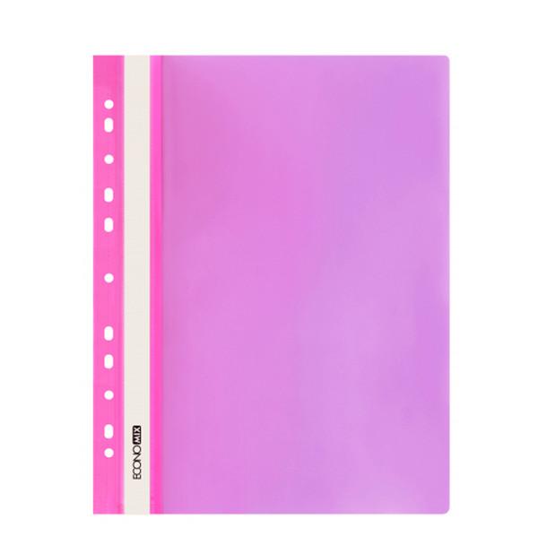 Папка-скоросшиватель с прозрачным верхом A4 Economix с перфорацией розовая E31510-09