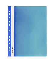 Папка-скоросшиватель с прозрачным верхом A4 Economix глянец с перфорацией синяя E31510-02