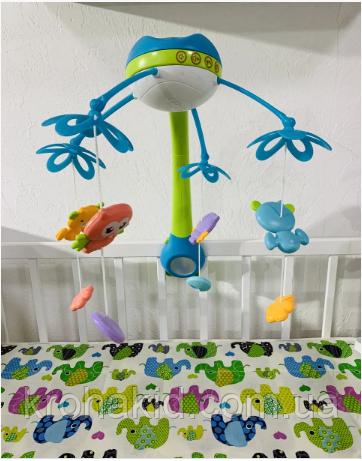 Детский музыкальный мобиль с проектором ночного неба на пульте 9937-38 Kissbaby «Яркие птички» - 500 мелодий