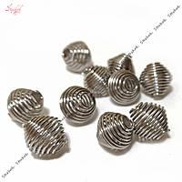 Металлическая бусина пружина в форме биконуса из нержавеющей стали 11х11 мм платина для рукоделия