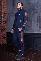 Мужской спортивный костюм с полосками по бокам Темно-синий