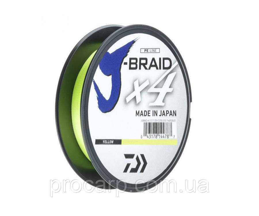 DAIWA Шнур J-Braid x4 0,21mm 12,4kg 270m yellow